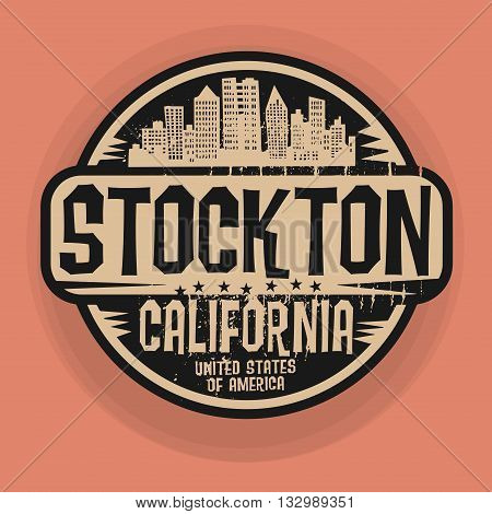 Stamp or label with name of Stockton, California, vector illustration