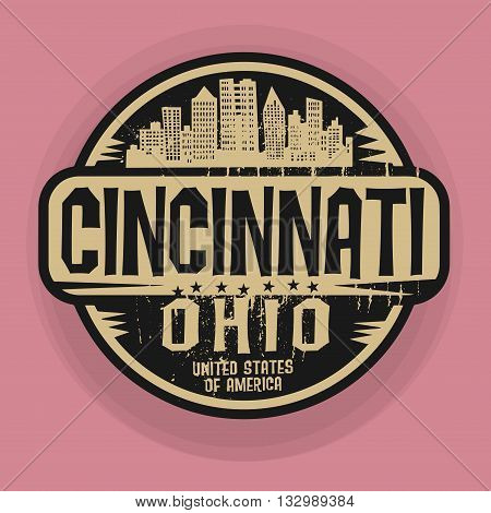 Stamp or label with name of Cincinnati, Ohio, vector illustration