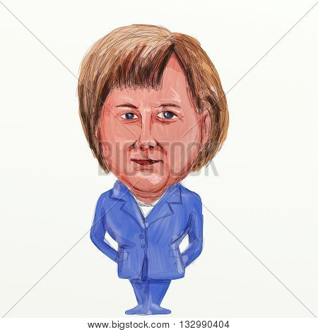 JUNE 5, 2016: Caricature illustration of Angela Dorothea Merkel German politician and Germany's first female Chancellor standing viewed from front on isolated background in in watercolor cartoon style.