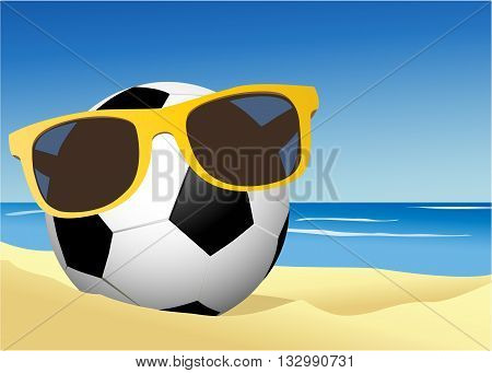 Football on the beach sand - vector illustration