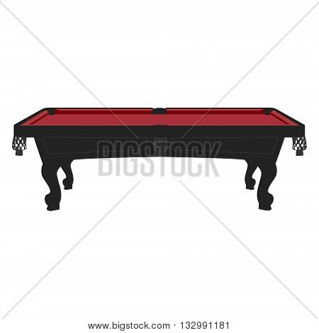 Vector illustration retro vintage pool table with bordo cloth. Empty billiard table