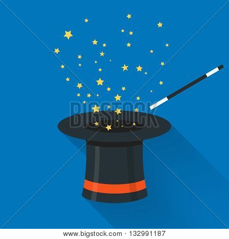 Abracadabra cartoon concept. Magic wand with stars sparks above black magic hat.