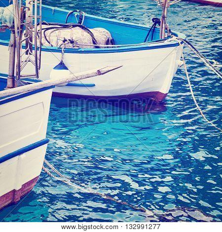 Trawl Winch on the Deck of Fishing Boat in the Port of Italian City of Cetara Retro Effect
