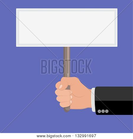 Realistic hand with clenched fist and plate ptotest. Flat design. Fist of revolution and protest. Agitation concept. Hand up. Vector design element