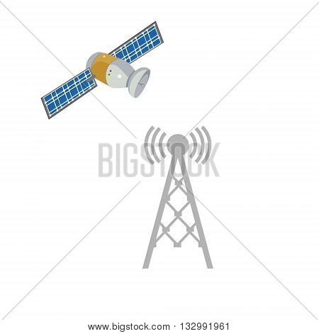 Vector illustration radio antenna wireless. Wave tower radio antenna. Telecommunications radio antenna tower or mobile phone base station with engineers concept vector. Satellite ico