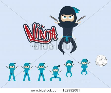 vector set of ninja Ninja Jumping Pose