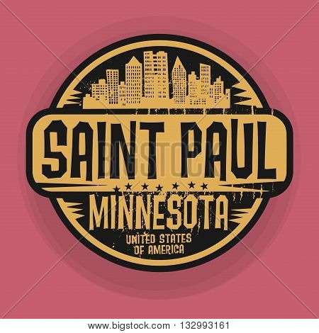 Stamp or label with name of Saint Paul, Minnesota, vector illustration