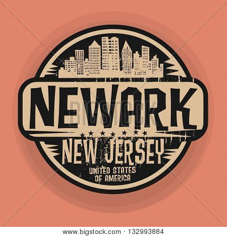 Stamp or label with name of Newark, New Jersey, vector illustration