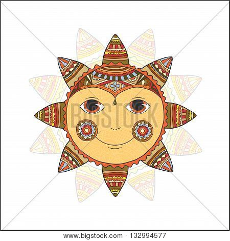 Doodle illustration of a gold smiling summer sun. Vector design element, isolated on a white background.