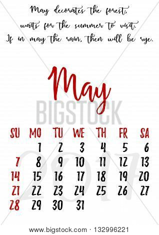 Calendar design grid in hand written style with russian proverbs adages and saying and dates of spring month May 2017. Vector illustration