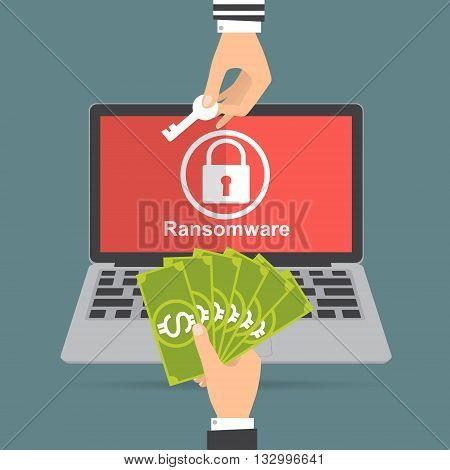 Hand holding money banknote for paying the key from hacker for unlock folder got ransomware malware virus computer. Vector illustration technology data privacy and security concept.