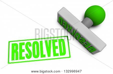 Resolved Stamp or Chop on Paper Concept in  3d Illustration Render