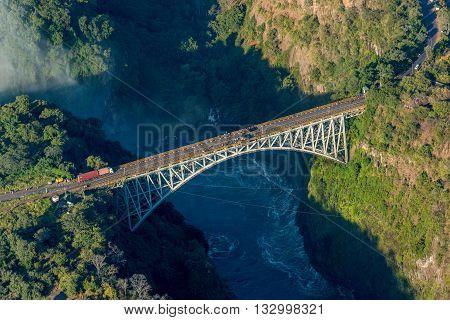 Aerial View Of Victoria Falls Suspension Bridge