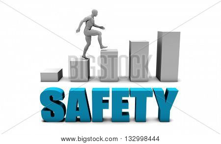 Safety 3D Concept  in Blue with Bar Chart Graph 3D Illustration Render
