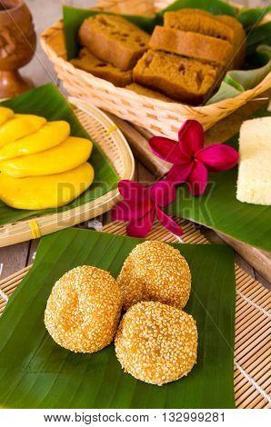 Ma Lai Gou-Traditional malaysia steamed cake.Malaysia desert Onde-Onde or known as Chinese Sesame Ball on banana leaf.