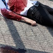 Dead man after car accident on the street poster