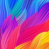 Bright Rainbow Colored Background with Waves. Abstract Colorful Exotic Bg. Floral Spectrum Pattern. Vector Texture for Posters Screens Web Banners. poster