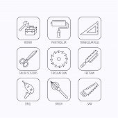 Scissors, paint roller and repair tools icons. Fretsaw, circular saw and brush linear signs. Triangular rule, drill icons. Flat linear icons in squares on white background. Vector poster