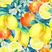 Watercolor mandarine orange and lemon fruit with leaves and blossom seamless pattern. Orange lemon citrus tree background. Tangerine lemon leaf flower in retro style. Hand painted illustration poster