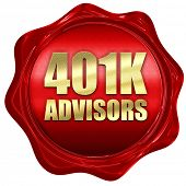 401k advisors, 3D rendering, a red wax seal poster