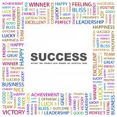 SUCCESS. Word collage on white background. Illustration with different association terms. poster