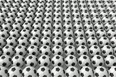 Conformity - So many soccer balls 3d illustration poster