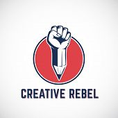 Creative Rebel Abstract Vector Sign, Symbol, Icon or Logo Template. Revolution Fist Mixed with a Pencil Concept in Red Circle. Stylized Riot Hand. Isolated. poster