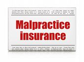 Insurance concept: newspaper headline Malpractice Insurance on White background, 3D rendering poster