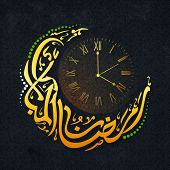 Golden glossy Urdu Calligraphy text Ramazan-ul-Mubarak in Crescent Moon Shape with Clock showing time for Prayer, Vector Illustration for Muslim Community Festival Celebration. poster