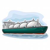 Vector illustration of logo for LNG liquefied natural gas carrier ship, consisting of  cryogenic super tanker, vessel with nautical storage tank for propane methane gas close-up on blue background poster