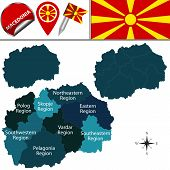 Vector map of Macedonia with named statistical regions and travel icons poster