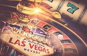 Las Vegas Gambling Concept. Roulette Slot Machine and Las Vegas Welcoming Strip Sign. Playing in a Casino Conceptual Illustration. #D rendering poster
