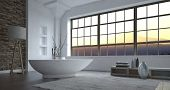 Modern minimalist luxury grey and white bathroom interior with a large view window and freestanding boat-shaped bathtub with eclectic decor, 3d, rendering. poster