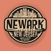 Stamp or label with name of Newark, New Jersey, vector illustration poster