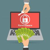Hand holding money banknote for paying the key from hacker for unlock folder got ransomware malware virus computer. Vector illustration technology data privacy and security concept. poster