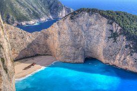 Shipwreck on the beach of Zakynthos in Greece