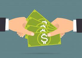Businessman hands payment and receiving money. Vector illustration flat design business concept design.