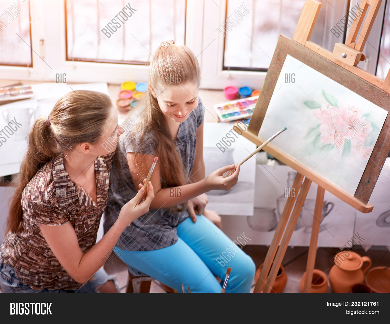 artist painting easel image photo free trial bigstock