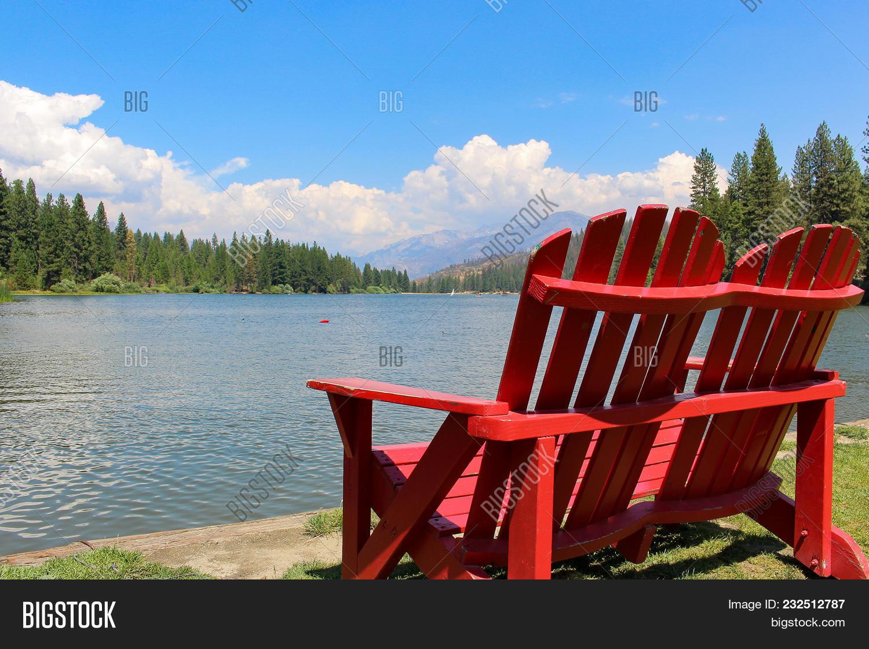 Red Adirondack Chairs Image & Photo (Free Trial)   Bigstock