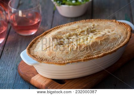 Delicious Cheese Pie And Pink Wine, Top View