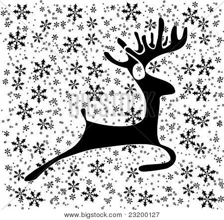 Deer on the snow flakes