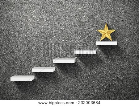 Big Yellow Star On Stair, Business Successful Concept