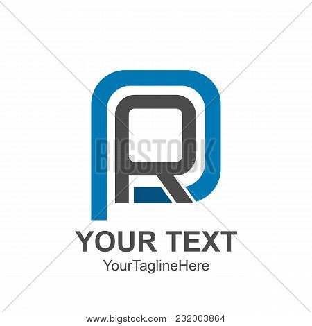 Initial Letter Pr Or Rp Logo Template Colored Grey Blue Curved Square Design For Business And Compan
