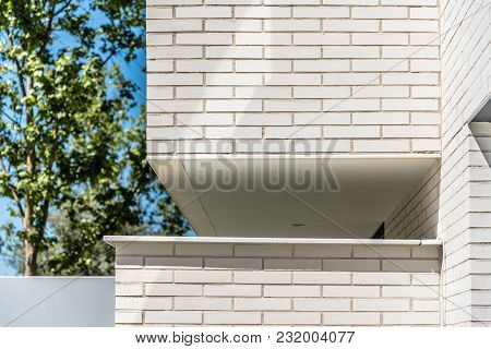 Detail Of Modern Architecture Brick Facade In Madrid.