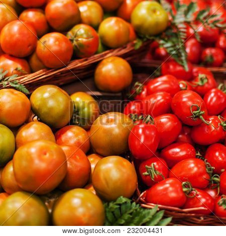 Fresh Tomatoes  Background. Organic Ripe Red Tomatoes In Market. Harvesting Concept