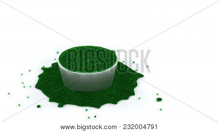 3d Illustration Of Fullfilled Silver Cup Of Green And Slimy Fluid Of Many Micro Balls With Many Over