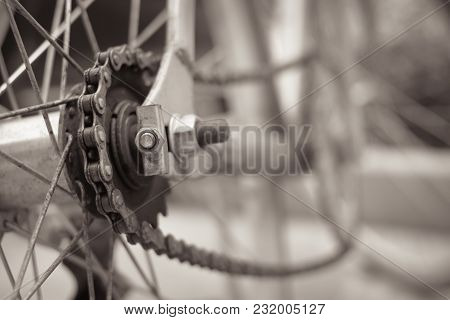 Black And White Color Bicycle View Of Rear Wheel Chain, Vintage Style