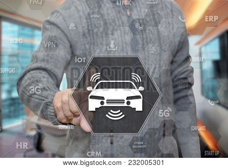 An Elderly Pensioner Chooses Car Wireless Internet Access, Wi-fi In The Car On The Touch Screen On B