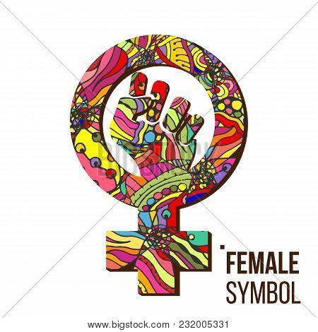 Feminism Protest Symbol Vector. Feminism Woman Gender Power. Female Icon. Feminist Hand. Girls Right