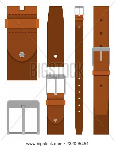Brown Leather Belt With Buckle Isolated On White Background. Element Of Clothing Design. Belt Trouse